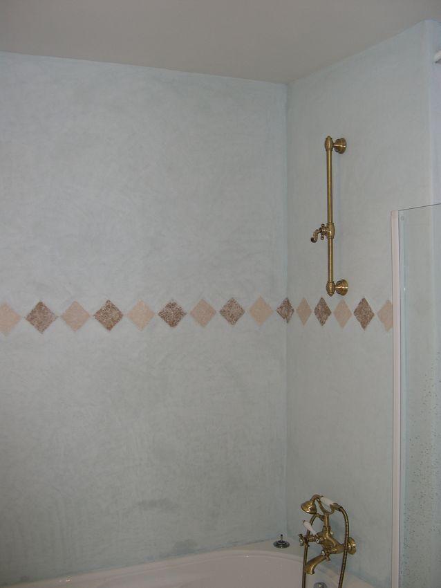 Tadelakt de marrakech lahouari tahiri salle de bain en - Salle de bain bleu ciel ...